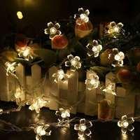 Guirnalda de luces LED de flores de cerezo para interiores, guirnalda de luces LED de 2M, 5M y 10M para decoración de jardín y vacaciones de Navidad