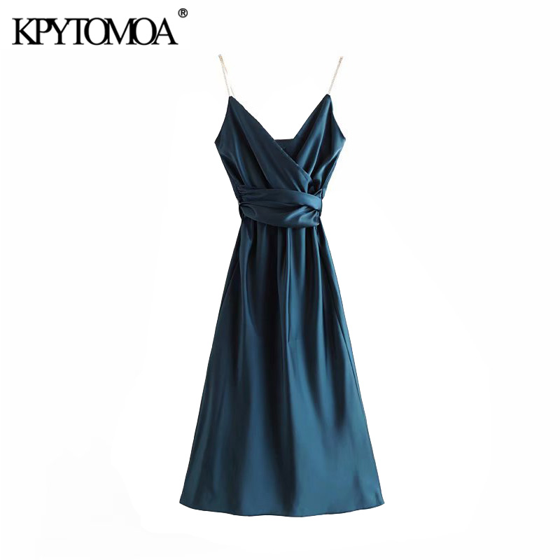 Vintage Stylish Soft Touch Bow Tie Sashes Maxi Dress Women 2020 Fashion V Neck Elastic Waist Spaghetti Strap Dresses Vestidos