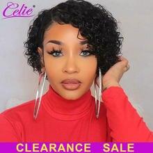 Perruque Bob Lace Front Wig naturelle, cheveux humains, coupe Pixie, 4x4, pour femmes africaines