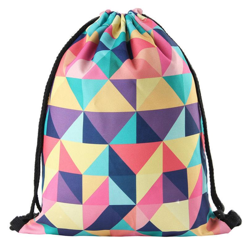 New Fashion Women Geometric Backpack 3D Printing Travel Softback Women Mochila Drawstring Bag Mens Backpacks