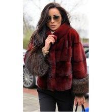 BFFUR 女性リアルミンクの毛皮のコートキツネの毛皮のカフ女性の冬 2019 毛皮のコートストライプファッショナブルな豪華な衣装