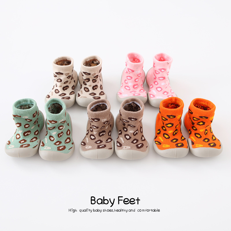 Autumn And Winter Leopord Pattern Children Soft-Sole Indoor Shoes Breathable Anti-slip  Babies' Toddler Shoes