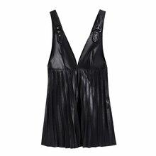 Women PU Leather Deep V Neck Pressed Pleat Splicing Mini Dress Female Sleeveless Clothes Casual Lady Loose Vestido D6967