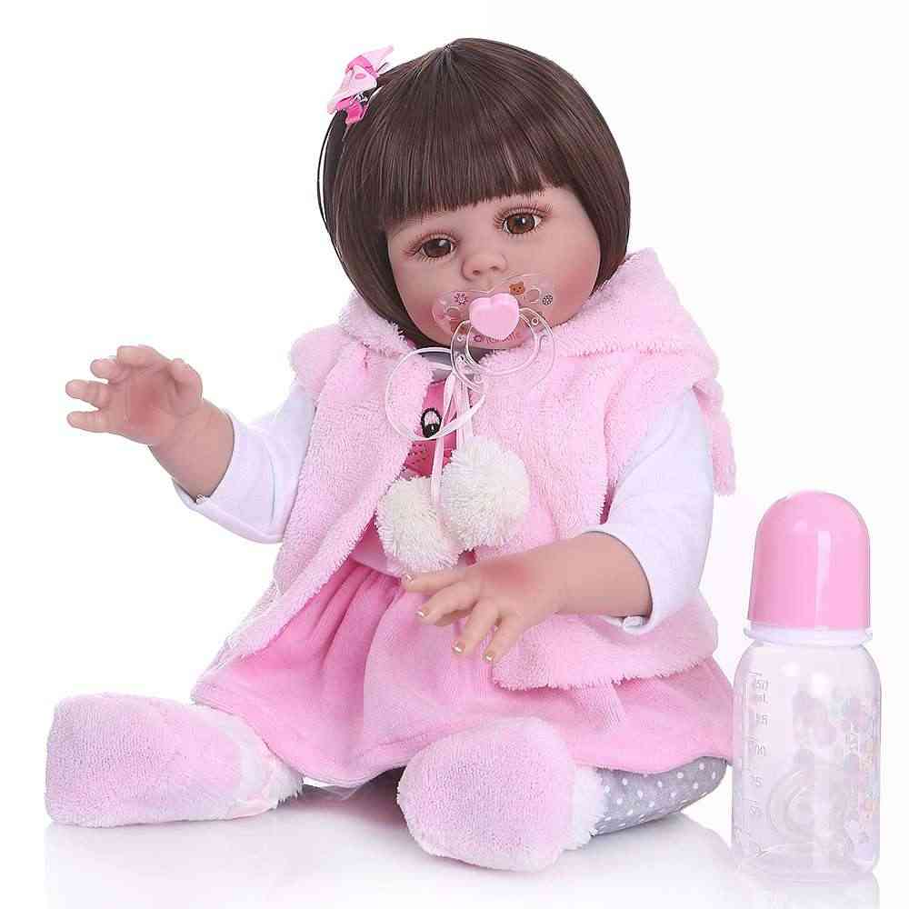 48CM baby doll reborn toddler girl doll in pink rabbit dress full body soft silicone realistic baby Anatomically Correct
