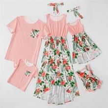 Модная семейная Одинаковая одежда наряды ассиметричные платья