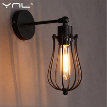 Lámpara de pared Vintage E27, lámpara Industrial Retro, luces de pared de bombilla Led Edison, lámpara de mesita de noche, Loft, iluminación de decoración del hogar