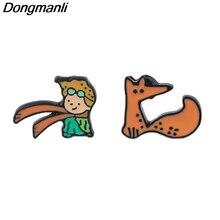 P4043 Dongmanli Le Petit Prince Studs Earrings For Womens Enamel  Stainless Steel Pierce Korea Jewelry Girls