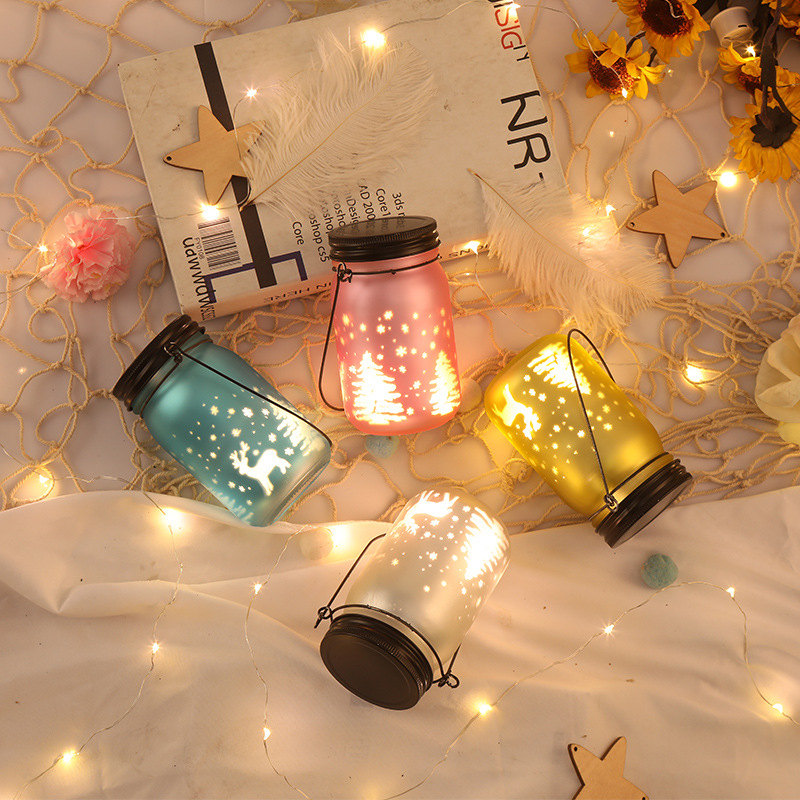 Glass Wishing Bottle LED Night Light Home Decoration Accessories Christmas Decoration Lamp Kids Birthday Present Elk Night Lamp