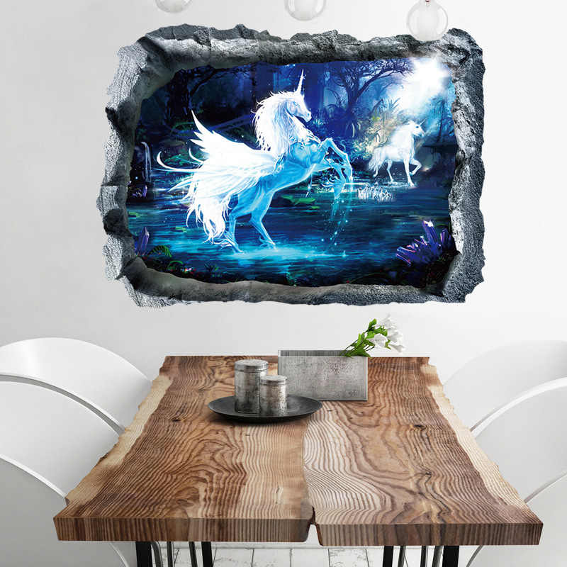 Forest unicorn broken wall sticker for kids room horse head nursery bedroom livingroom decor 3d effect wall decal mural art gift