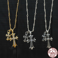 100%925 sterling silver necklace personality fashion classic jewelry punk retro style cross inlaid stone shape 2018 new gift