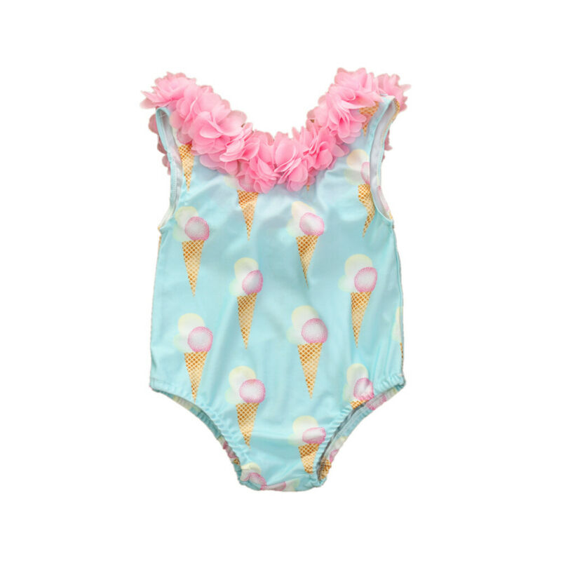 Toddler Baby Girl Sleeveless One Piece Bathing Suit Ice Cream Swimsuit Summer Beach Outfits Flower Clothes