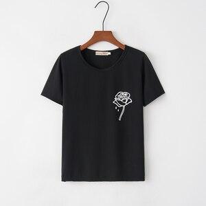 Летняя женская футболка с принтом розы, модная повседневная черная футболка с круглым вырезом и коротким рукавом, большие размеры S-XXL, 2020