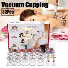 24/32 latas copos de vácuo chinês cupping kit puxar para fora aparelho de vácuo terapia relaxar massageadores curva sucção bombas