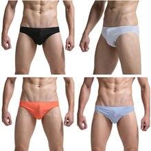 Men's Low-waist Ice Silk Mini Briefs Underwear Sexy Breathable Underpants Mens Briefs Thong G String