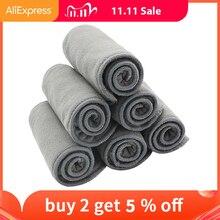 Детские подгузники Happy Flute, 10 шт., качественная подкладка с бамбуковым углем, тканевые вставки для подгузников, моющиеся 4 слойные подгузники