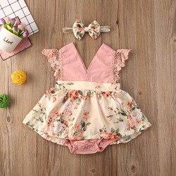Комбинезон для новорожденных девочек 0-24 месяцев, розовое кружевное платье принцессы без рукавов с цветочным рисунком и v-образным вырезом + ...