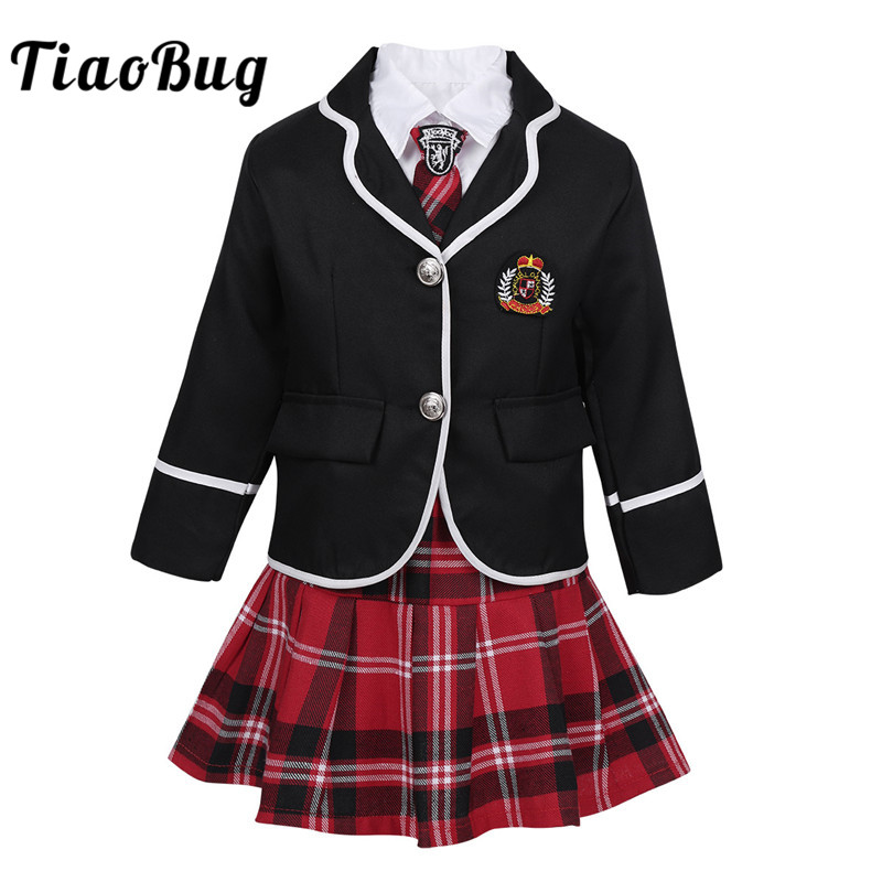 TiaoBug Kids Teens Japanese Anime Cosplay Students Costume Girls British Style School Uniform Coat With Shirt Tie Mini Skirt Set