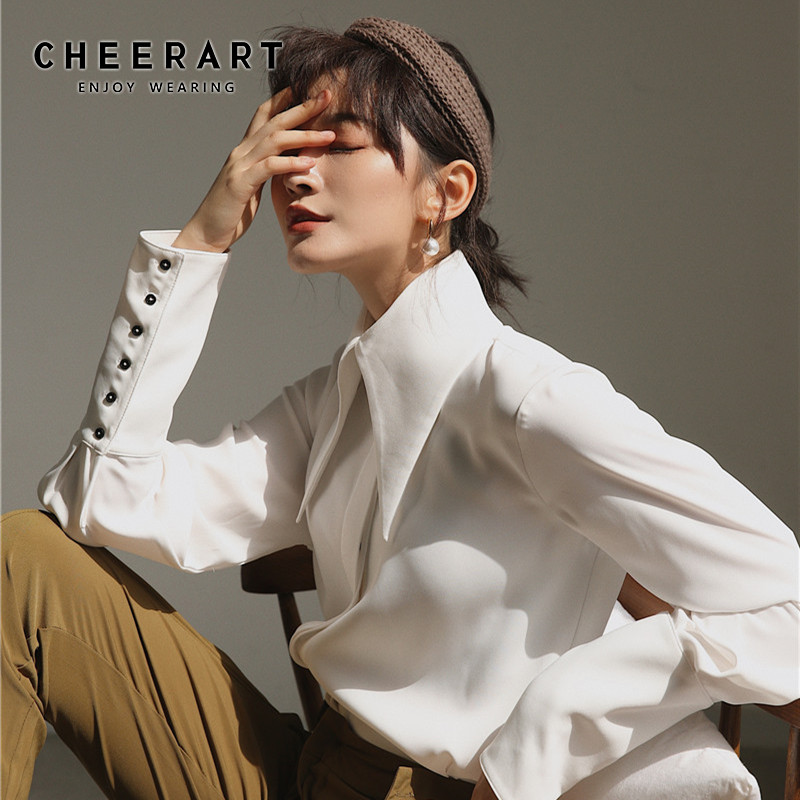Cheerart White Vintage Blouse Long Sleeve Button Down Big Collar Shirt Ladies High Fashion Blouses And Tops Fall Clothing 2019