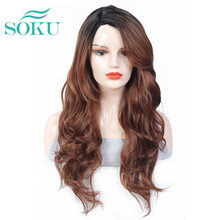 Soplado sintético peluca con malla frontal SOKU belleza de moda pelo largo ondulado para las mujeres negras Peluca de encaje sin cola resistente al calor fibra pelucas
