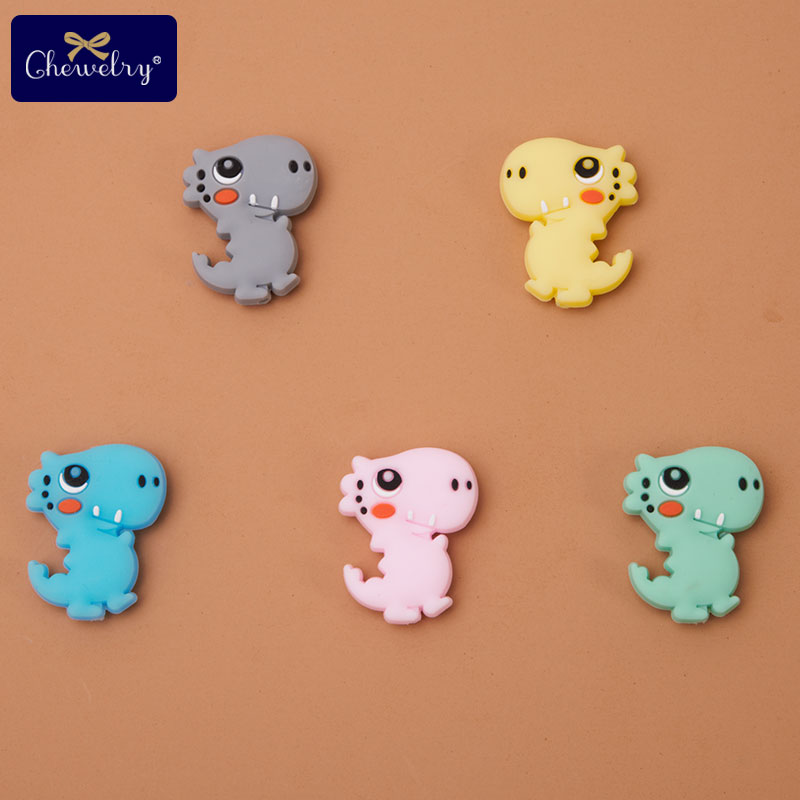5pcs Baby Silicone Teether Beads Tiny Rod Rodent Mini Dinosaur Teether DIY Nursing Necklace Bracelet Pacifier Chain Kids Product