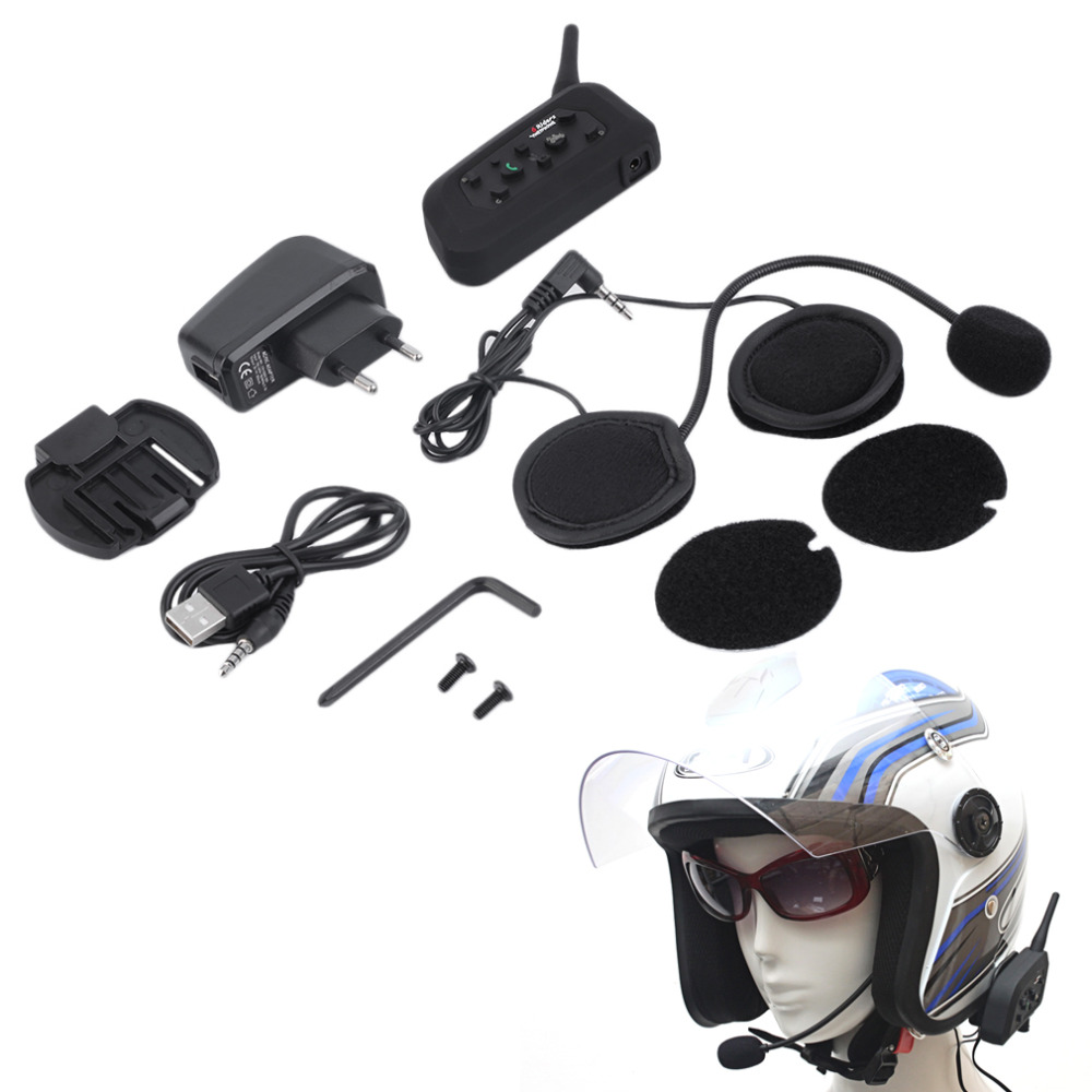 EU Plug V6 Helmet Intercom 6 Riders 1200M Motorcycle Bluetooth Intercom Headset Walkie Talkie Helmet BT Interphone EU Plug Hot