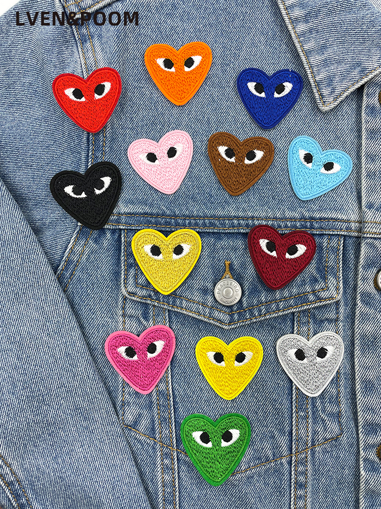 Ironing patch, colorful and fun heart-shaped heart-eye embroidered appliques for clothes decoration patch