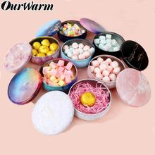 Ourwarm Beautiful Round Iron Gift Boxes Wedding Birthday Candy Packing Box Party Favors Giveaway Flower Cracker Case