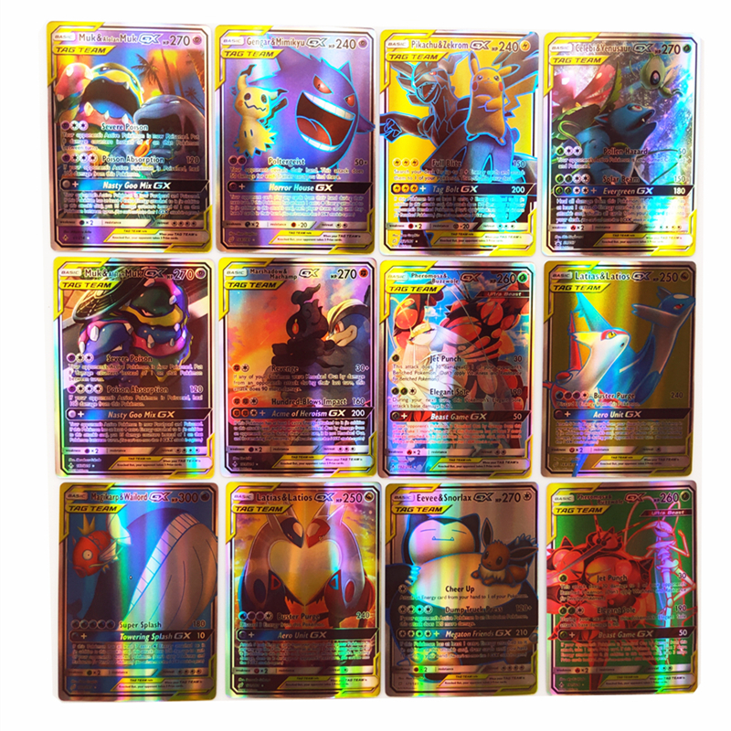 120 PCS TOMY Pokemon Card Lot Featuring 30 Tag Team, 50 Mega,19 Trainer,1 Energy, 20 Ultra Beast