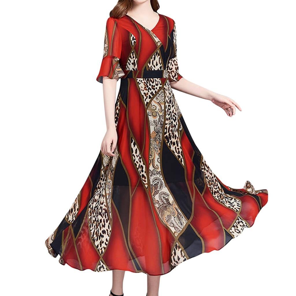 Sleeper #W401 2020 NEW Women Summer V-Neck Short Sleeve Leopard Print Dress charm ?????? ??????? gift elegant Free Shipping