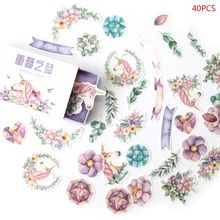 40pcs/box Vintage Flowers Stationery Stickers Sealing Label Travel Sticker Scrapbooking Diary Planner Albums Decorations DIY цена