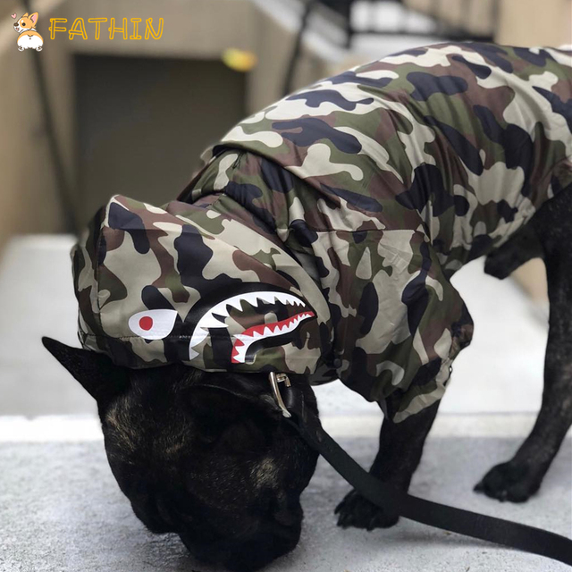 FATHIN Dog Clothes Adidog Camouflage French Bulldog Pupreme Shirt Dog Camo Windbreaker Sport Retro Dog Hoodies Pet Clothes 3