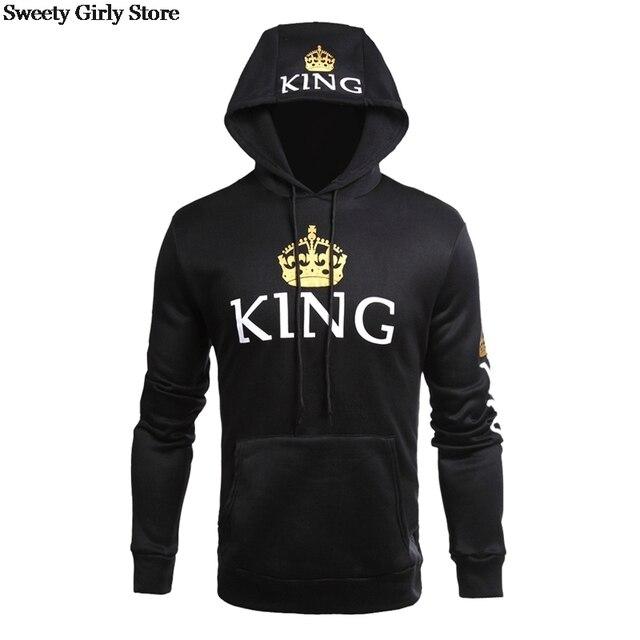 QUEEN KING Print Hooded Long Sleeve Couple Sweatshirt Casual Sexy Fashion Women Men Pullovers Hoodies Fashion Hoodie Streetwear 4