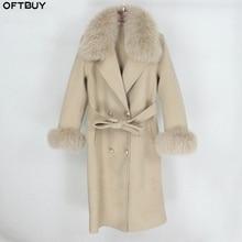 Oftbuy 2021 Double Breasted Kasjmier Wol Blends Echte Bontjas Winterjas Vrouwen Natuurlijke Fox Bontkraag En Manchetten Streetwear