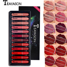 цена на Teayason 12PCS Matte Lip Gloss Set Velvet Matte Lipgloss Nude Red Liquid Lipstick Set  Waterproof Wine Lip Tint Makeup Cosmetic
