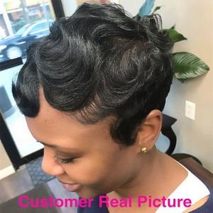 Image 5 - Bling saç kısa okyanus dalgası peruk brezilyalı Pixie kesim Bob parmak dalga peruk makinesi yapımı İnsan saç peruk kadınlar için doğal renk