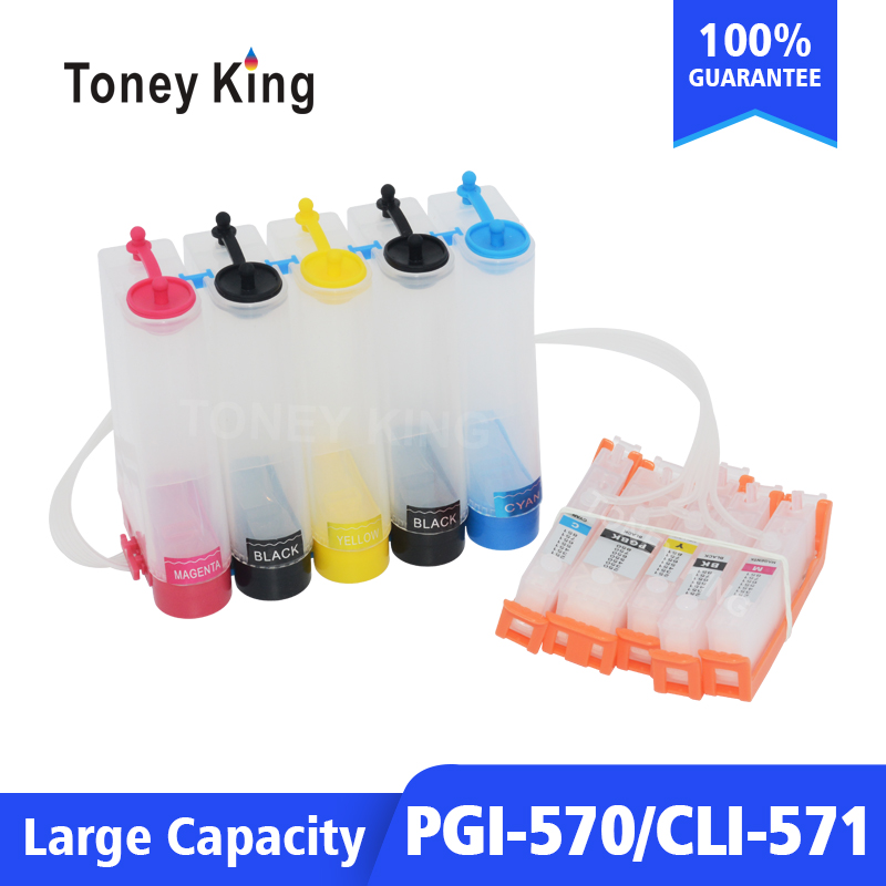 Toney King PGI 570 CLI 571 Continuous Ink System Kit For Canon PIXMA MG5750 MG5751 MG5752-Silver MG6850 Printer With Reset Chip