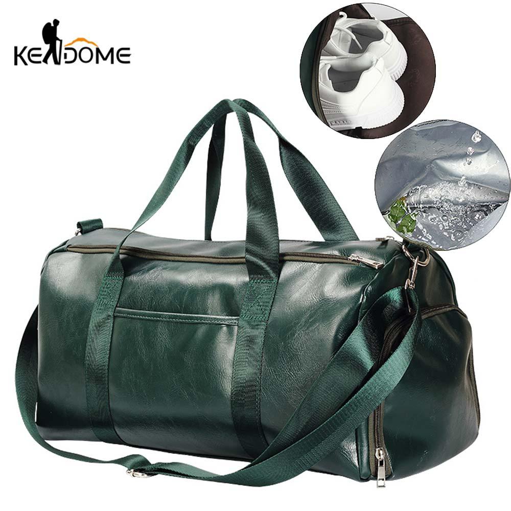 Men Women Leather Gym Duffel Shoulder Bag Travel Luggage Large Handbag Tote