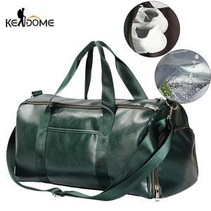 Image 1 - PU Leather Gym Bag Large Training Sports For Men Women Travel Yoga Handbag Fitness Shoulder Crossbody Dry Wet Gym Bags XA722WD