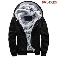 Chaud 8XL 9XL hiver hommes épais sweats à capuche polaire vestes à capuche 10XL grande taille grand 5XL noir sweat fermeture éclair 150KG 54