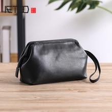 AETOO Leather handbag, mens leisure large-capacity collection bag, head leather hand bag