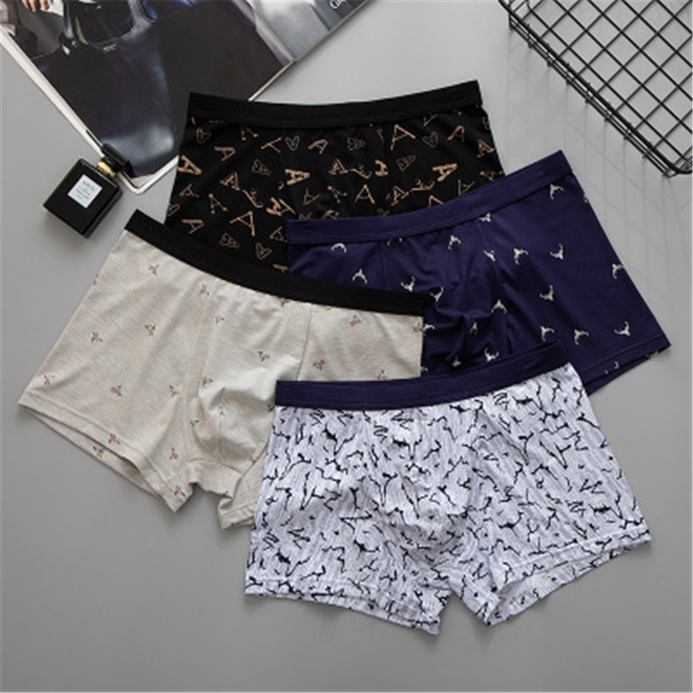 Men's Wide-edged Elastic Breathable Underwear, Mid-waist Fashion Business Printing, Men's Boxer Shorts T120
