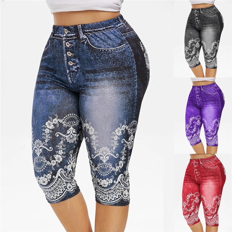 Faux Jeans Leggings Woman Stretch Printed Short Leggins 4\3 Capri Pants Summer Breeches High Waist Perfect Fit Jeans Jeggings