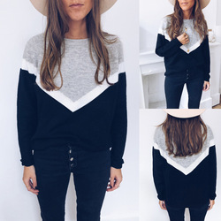 Autumn Winter 2020Women Casual Loose Sweaters Color Matching Design O-Neck Long Sleeve Pullovers Fashion Ladies Streetwear Tops