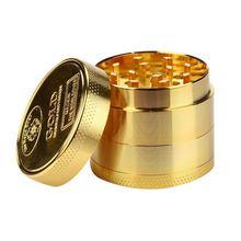 40 мм Золотая монета Форма измельчитель табака ноутбук в металлическом