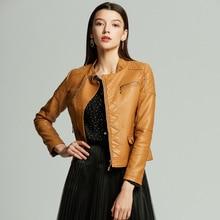 Женская Весенняя и осенняя куртка, короткое пальто из искусственной кожи, облегающее пальто на молнии с карманом, сексуальное женское крутое байкерское пальто