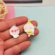 10pcs Cartoon Metal Fart Peach Enamel Charms Pendants Lovely Bee Peach Fit Bracelets Earrings Floating DIY Jewelry Accessories kingcamp peach 28 kb3306