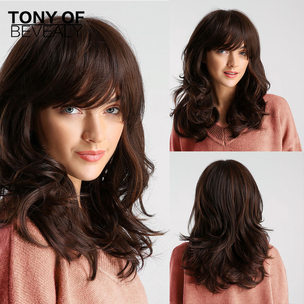 Medium length Wavy Synthetic Wigs With Bangs Brown Wigs for Women Natural Daily Party Hair Wigs Heat Resistant Fiber