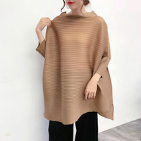 New summer Lazy Wind Heart Machine Top with Slender and Loose Autumn Style and Irregular Korean T shirt MIYAKE pleats tshirt