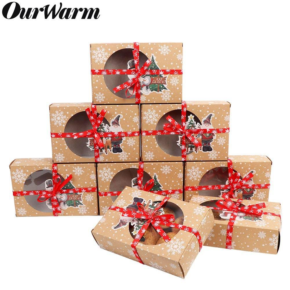 OurWarm 12/24pcs Kraft Paper Christmas Cookie Gift Boxes With Clear Window 18*12*5cm New Year Favors Boxes For Cookies Treats