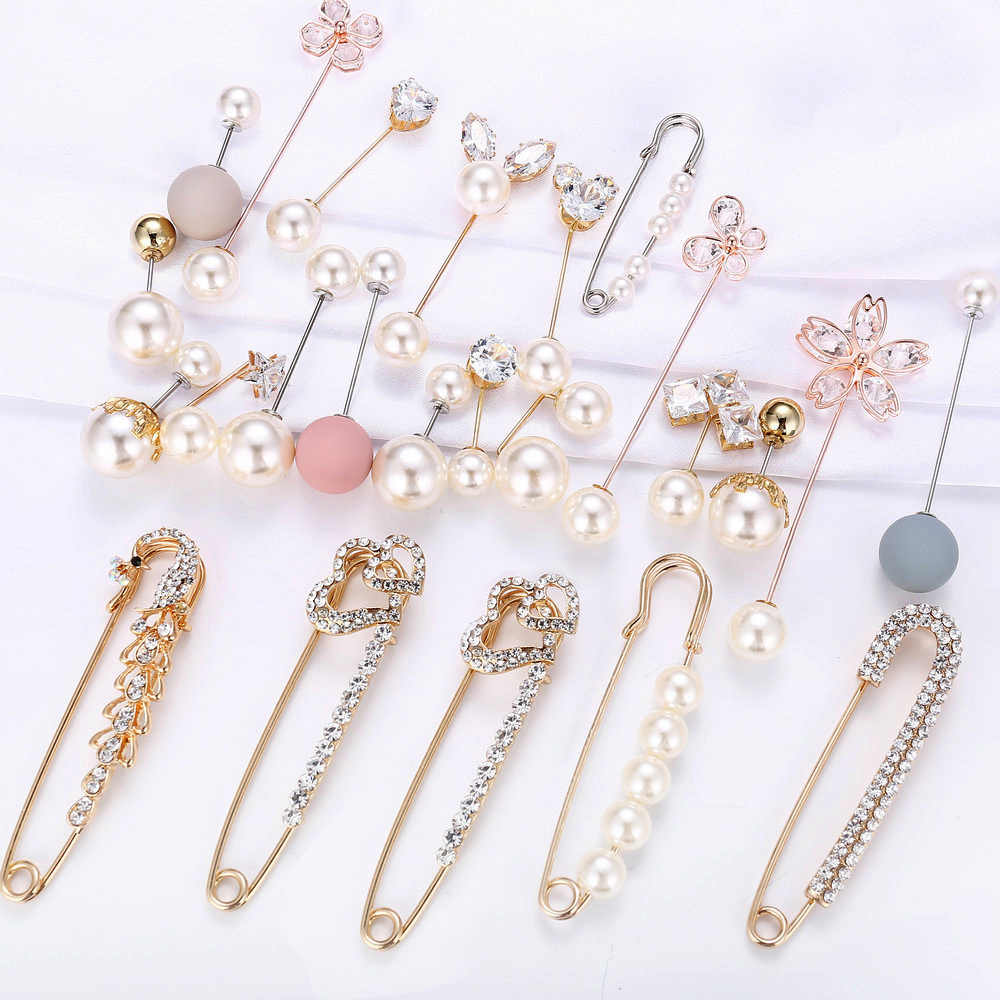 23 Styles Big Beads 8 Chakra Simulated Pearl Brooch Pin Dress Rhinestone Decoration Buckle Pin Jewelry Brooches For Men Women